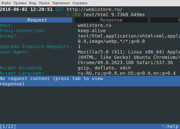 Mitmproxy - подробные сведение об http потоке