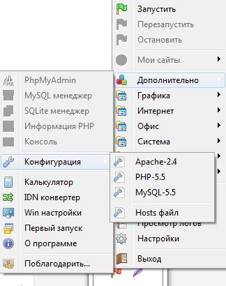 Настройка конфигурации в open server