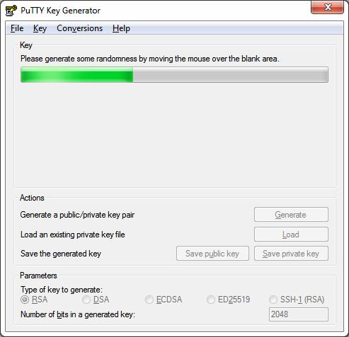 Генерация ключей в PuTTY Key Generator
