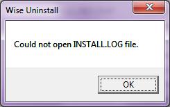 Исправляем ошибку Could not open INSTALL.LOG file
