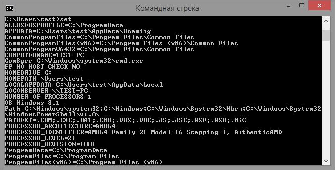 Немного о переменных среды Windows