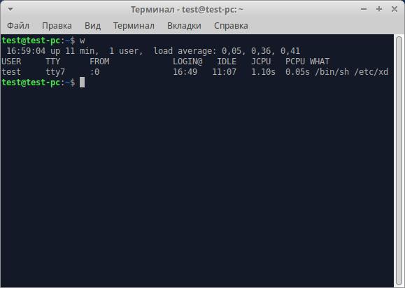 Команда W - смотрим работающих пользователей в Linux