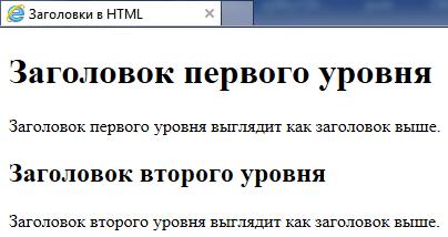 Заголовки в документах HTML