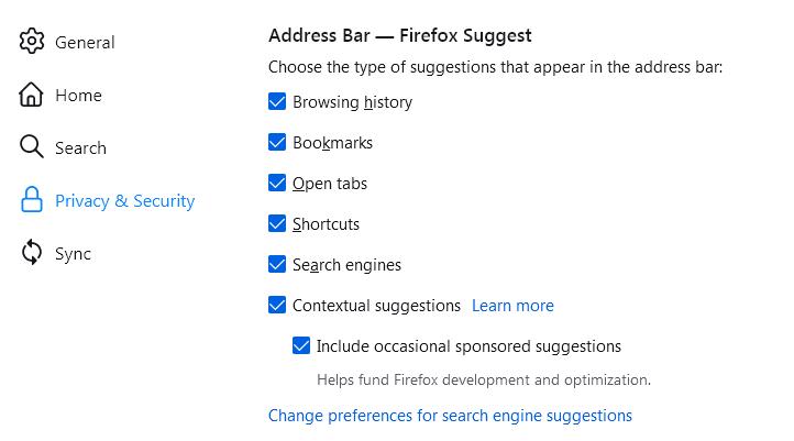 Firefox начал показывать рекламу в адресной строке пользователям в США
